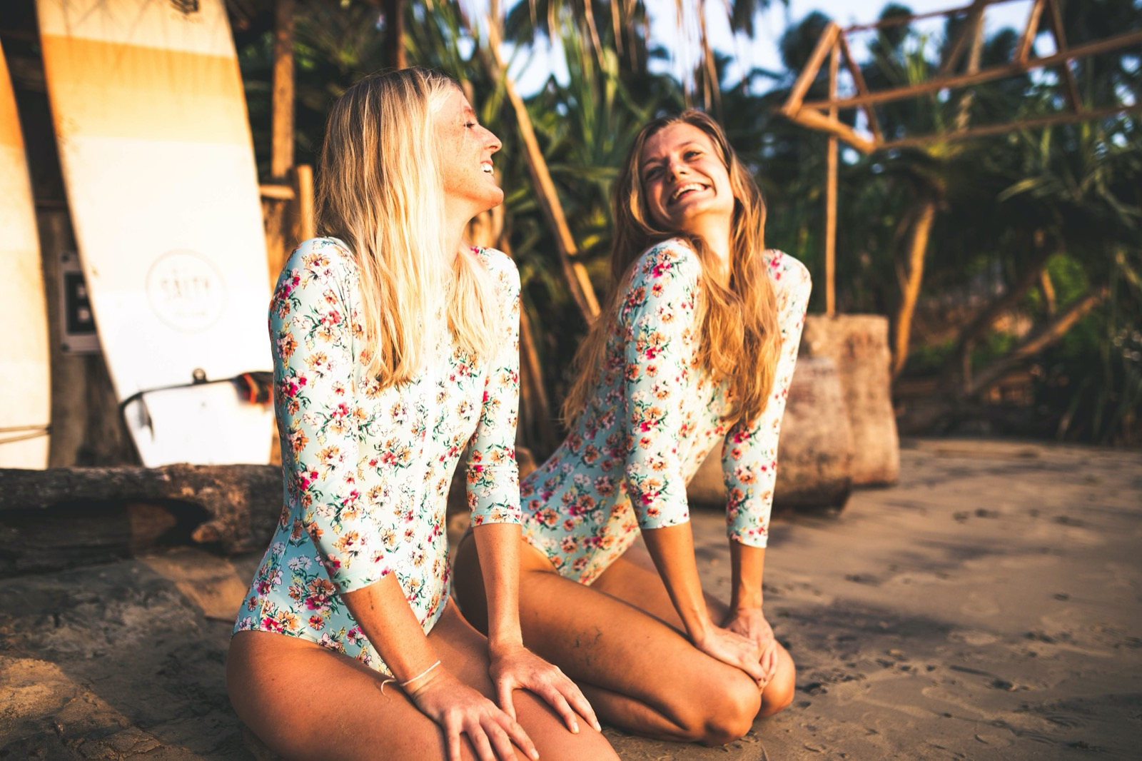 The FLEUR Surf Suit Feminine, Flattering and oh so functional.  Go shred & stay sun safe in this pretty little coverup with UPF 50+ Sun Protection. High leg & full sleeves with a zip up front. Wear alone or with The Lily OR The Fleur bikini tops underneath for more support.